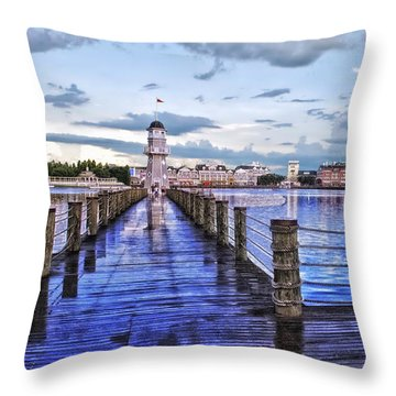 Yacht And Beach Club Lighthouse Throw Pillow by Thomas Woolworth