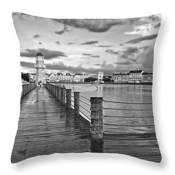 Yacht And Beach Lighthouse In Black And White Walt Disney World Throw Pillow by Thomas Woolworth