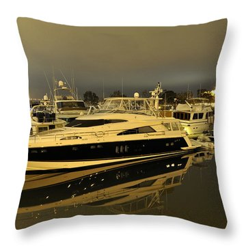 Throw Pillow featuring the digital art Yacht  by Gandz Photography