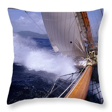 Yacht Race, Caribbean Throw Pillow