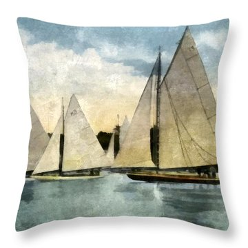 Yachting In Saugatuck Throw Pillow by Michelle Calkins