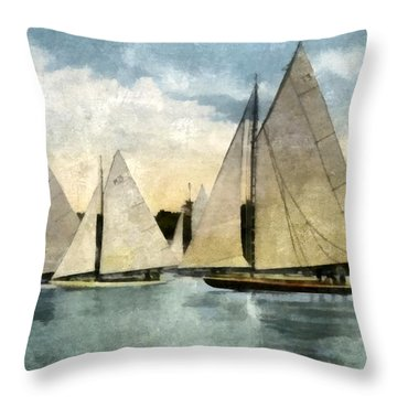 Yachting In Saugatuck Throw Pillow