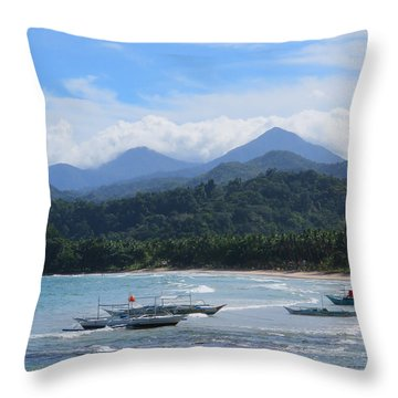 Yachts And Mountains Throw Pillow