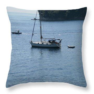 Yachts At Anchor Throw Pillow