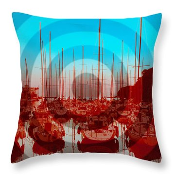 Yachts On Moroiso Bay In Japan Throw Pillow