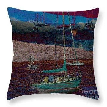 Throw Pillow featuring the photograph Yachts On The River by Leanne Seymour