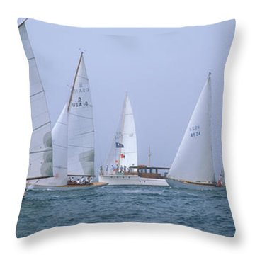 Yachts Racing In The Ocean, Annual Throw Pillow
