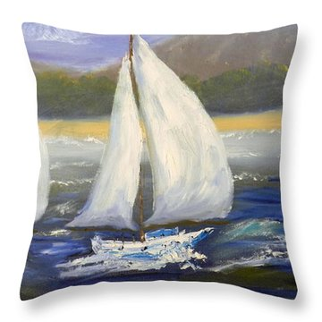 Yachts Sailing Off The Coast Throw Pillow