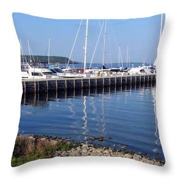 Yachtworks Marina Sister Bay Throw Pillow