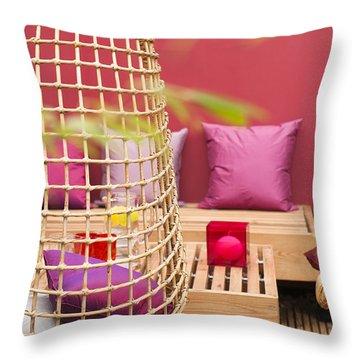 Yado Garden Throw Pillow by Anne Gilbert
