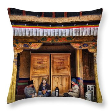 Yak Butter Tea Break At The Potala Palace Throw Pillow by Joan Carroll