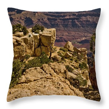Throw Pillow featuring the photograph Yaki Point 3 The Grand Canyon by Bob and Nadine Johnston