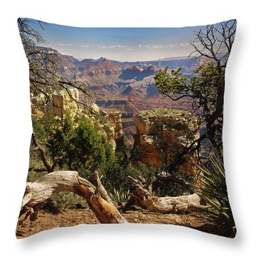 Throw Pillow featuring the photograph Yaki Point 4 The Grand Canyon by Bob and Nadine Johnston