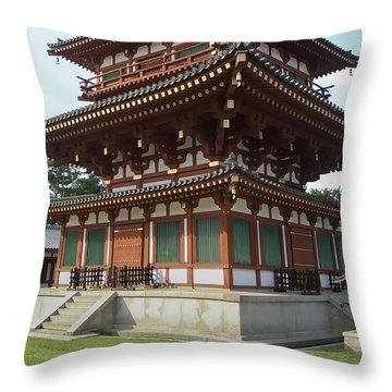 Yakushi-ji Temple West Pagoda - Nara Japan Throw Pillow by Daniel Hagerman