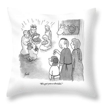Yamaka-wearing Man To Small Son Throw Pillow