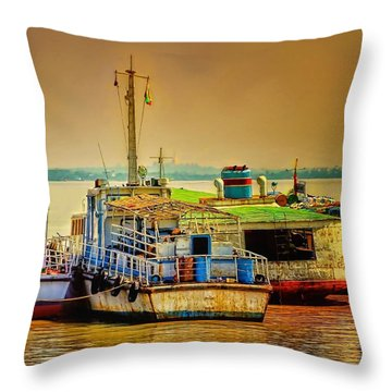 Throw Pillow featuring the photograph Yangon Harbour by Wallaroo Images