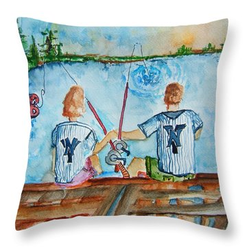 Yankee Fans Day Off Throw Pillow by Elaine Duras