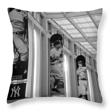 Yankee Greats Of Yesteryear In Black And White Throw Pillow