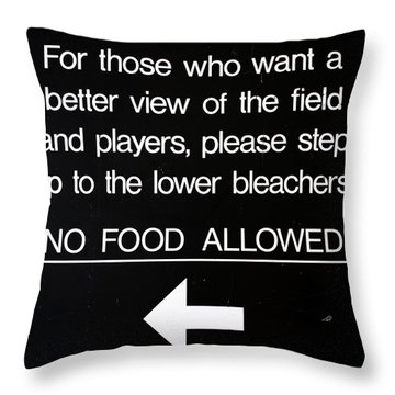 Yankee Stadium Lower Bleachers Sign Throw Pillow by Bill Cannon