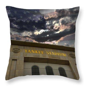 Yankee Stadium Ny Throw Pillow by Chris Thomas