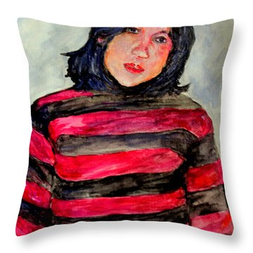 Throw Pillow featuring the painting Yanti P by Jason Sentuf