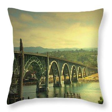 Yaquina Bay Bridge Or Throw Pillow by Joyce Dickens