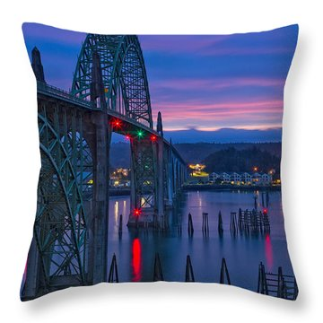 Yaquina Bay Bridge  Throw Pillow by Patricia Davidson