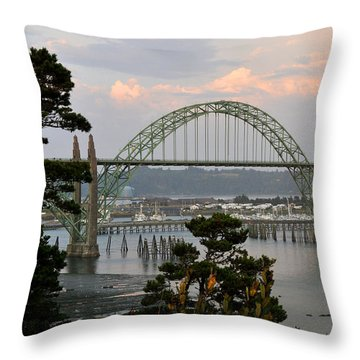 Yaquina Bay Bridge Throw Pillow by Rebecca Parker