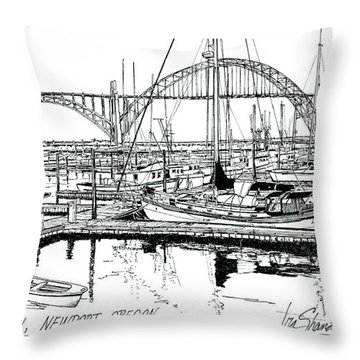 Yaquina Bay Newport Oregon Throw Pillow by Ira Shander