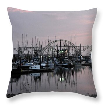 Yaquina Bay Throw Pillow by Rebecca Parker