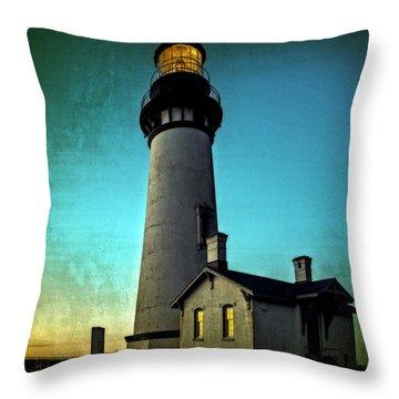 Yaquina Head Lighthouse At Sunset Throw Pillow