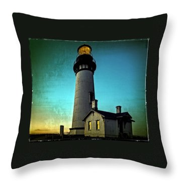 Yaquina Head Lighthouse At Sunset Throw Pillow