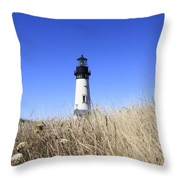 Yaquina Head Lighthouse Throw Pillow by David Gn