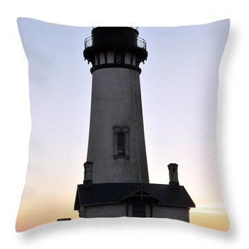 Yaquina Head Lighthouse Dusk Throw Pillow by Rebecca Parker
