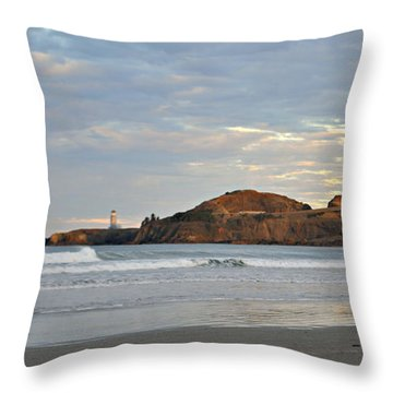 Yaquina Head Lighthouse In Oregon Throw Pillow by Mindy Bench