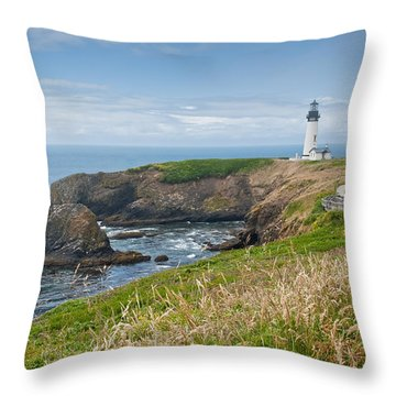 Throw Pillow featuring the photograph Yaquina Head Lighthouse by Jeff Goulden