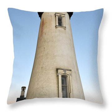 Yaquina Head Lighthouse Rising Moon Throw Pillow by Rebecca Parker