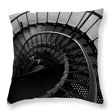 Yaquina Head Stairway Down Throw Pillow by Rebecca Parker