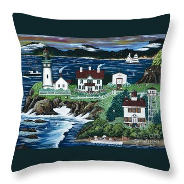 Yaquina Lighthouse Throw Pillow by Jennifer Lake