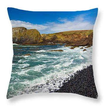 Yaquina Lighthouse On Top Of Rocky Beach Throw Pillow by Jamie Pham