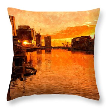 Yarra River Sunset As Seen From Promenade In Melbourne Throw Pillow