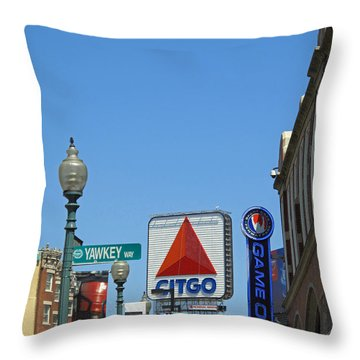 Yawkey Way And Citgo Throw Pillow by Barbara McDevitt