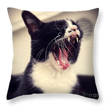 Yawn Like You Mean It Throw Pillow by Trish Mistric