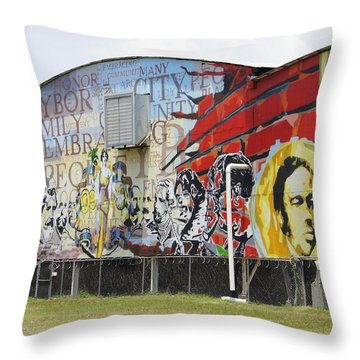 Ybor Mural Throw Pillow by Laurie Perry