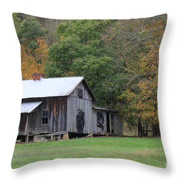 Ye Old Cabin In The Fall Throw Pillow