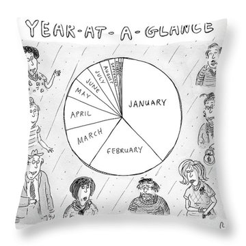Year At A Glance--a Pie Chart Of The Months Throw Pillow