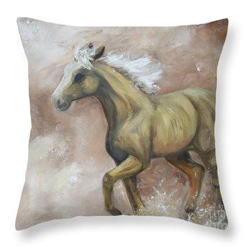 Yearling In Storm Throw Pillow