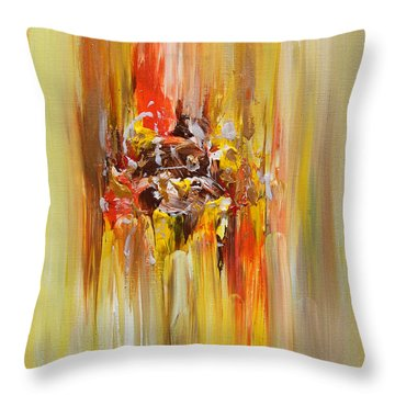 Yellow Abstract Landscape Throw Pillow