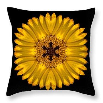 Yellow African Daisy Flower Mandala Throw Pillow