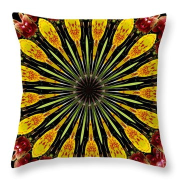 Yellow And Apricot Orchids Kaleidoscope Throw Pillow by Rose Santuci-Sofranko